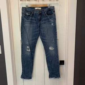 A&F Distressed Girlfriend Jean
